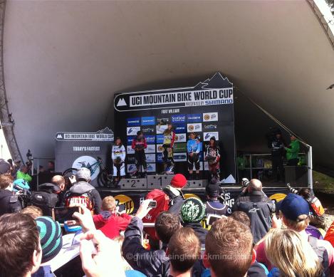Women's Elite podium - 2015 Downhill Mountain Bike World Cup, Fort William