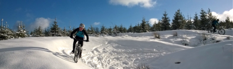 Mountain biking in the snow, Llandegla