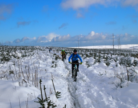 Mountain biking in the snow at Llandegla