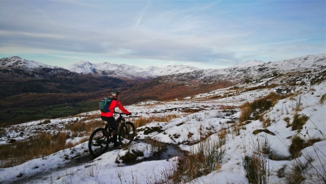 Lake District mountain biking in snow