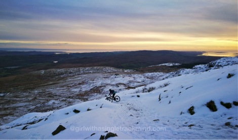 Descending Walna Scar in the snow