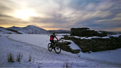Snowy trail up to Walna Scar