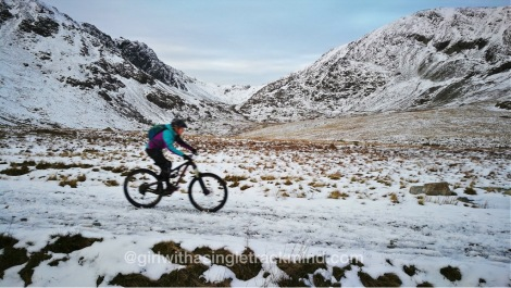 Mountain biking in the snow, Lake District